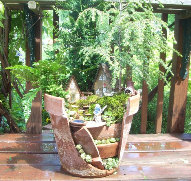 Fairy Garden in a Broken Planter