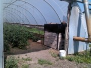 wood heater in the greenhouse