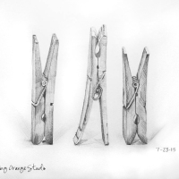 Drawing Challenge Day 23, Clothespin Trio