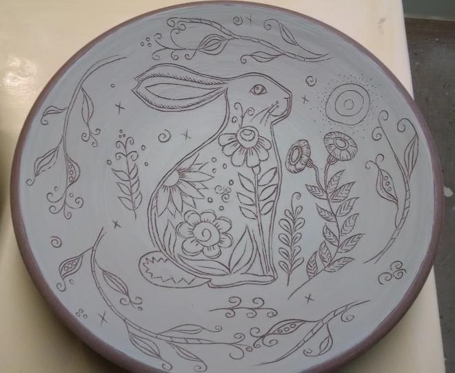 Rabbit Bowl with Pea Border