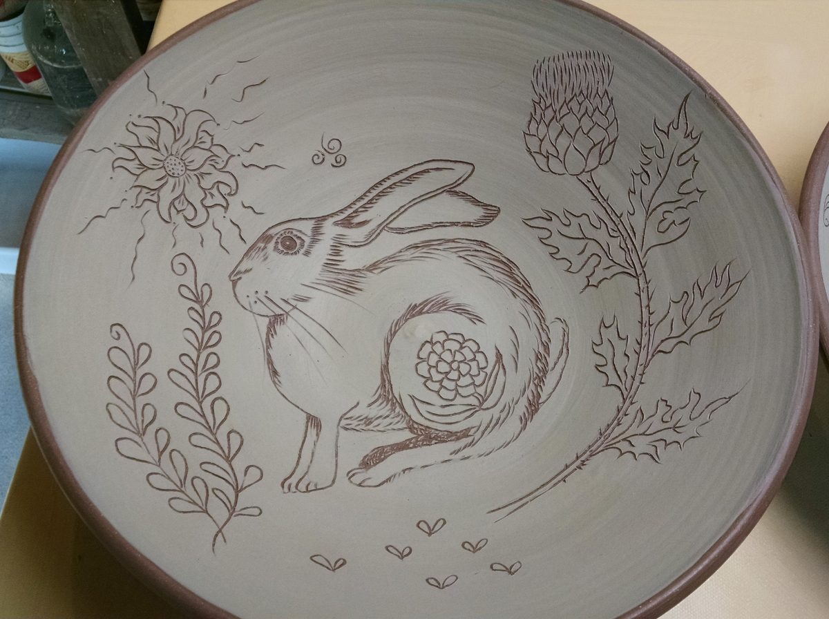 Drawing Challenge, Day 24, Rabbit Pasta Bowls