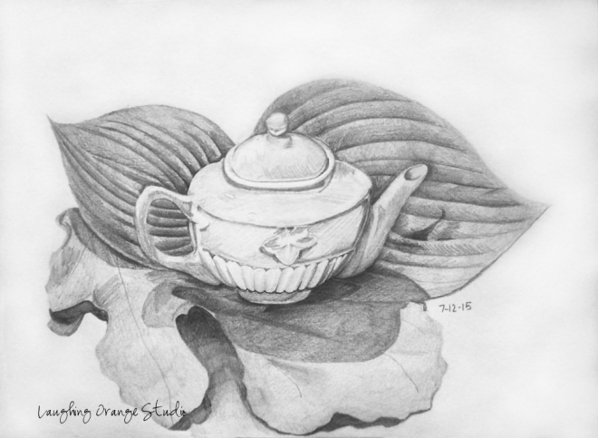 Teapot and Leaves
